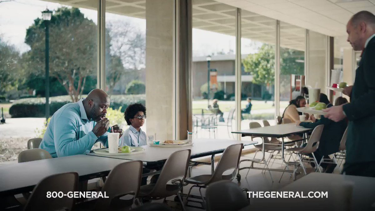 .@shaq beat me to the lunch table and now we need somewhere to sit. He's been trying to tell me and @turnersportsej about how @thegeneralauto has been providing quality insurance for nearly 60 years. Check out our feature in The General's new commercial. #RideWithTheGeneral #Ad