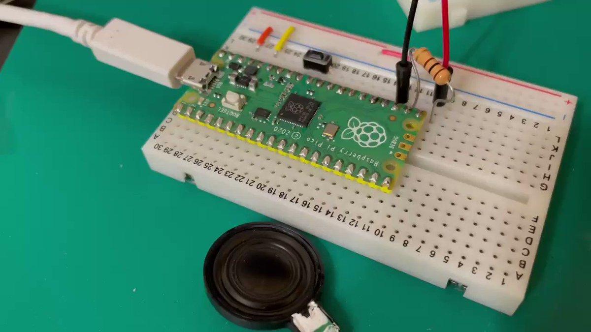 Raspberry Pi PicoでMicroPythonでPWM信号で圧電スピーカーを鳴らしてピタゴラスイッチを演奏したよ   ⁽⁽ ₍₍ 🎱 ピPicoのセットアップからLチカ、そしてメロディー演奏までを⬇️の記事に書いたから見てね  #Qiita #RpspberryPiPico #ピタゴラスイッチ