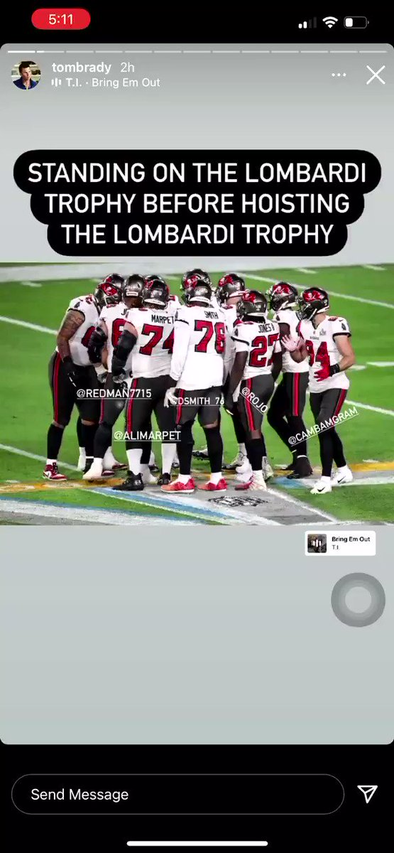 Replying to @ComplexSports: Tom Brady's IG story is GOLD. 🤣