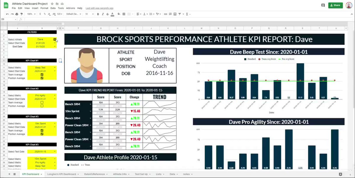 Today I posted the final video for the Google Sheets Athlete Dashboard Series.   This 6 video series can be found here: https://t.co/QUFJvW2pm0  To celebrate I will give away 5 copies of this dashboard on Friday Feb 12.   To enter all you need to do is like & retweet this post. https://t.co/pFdJ0GSkHs