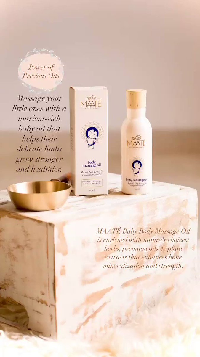 MAATÉ Baby Body Massage Oil is enriched with nature's choicest herbs, premium oils & plant extracts that enhances bone mineralization and strength. It promotes weight gain, aids in digestion, improves circulation, soothe their senses and helps them to sleep better. #babycare