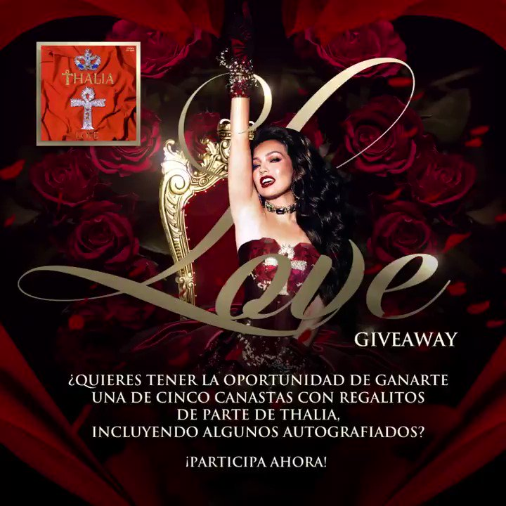 SOUND ON 🔊 ¡Sorpresa!!!! ¡Participa en el #LOVE Giveway para celebrar la semana de San Valentín! ♥️💌🎁💘♥️ ➡️  ¿Quieres tener la oportunidad de ganarte una de cinco canastas con regalitos de parte mía, incluyendo algunos autografiados? #ThaliaLosInicios