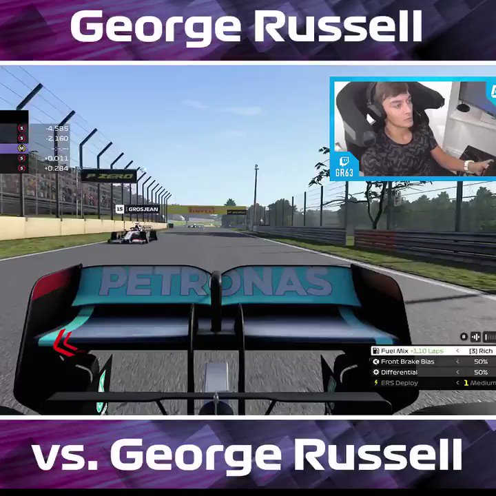 George 🤝 Virtual George   @GeorgeRussell63 comes face to face on the track with...himself!   Tune in to Sunday's race to see if the @WilliamsRacing driver can be victorious again!   #VirtualGP 🎮 #F1