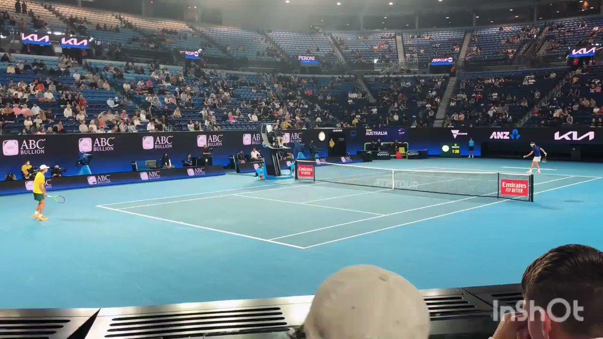 What a serve! What a match! Kevin stared in awe as Stefanos Tsitsipas battled Alex De Minaur in Rod Laver Arena. 🎾👟  #Tennis #ATPCup #Tsitsipas #DeMinaur #WorkLifeBalance