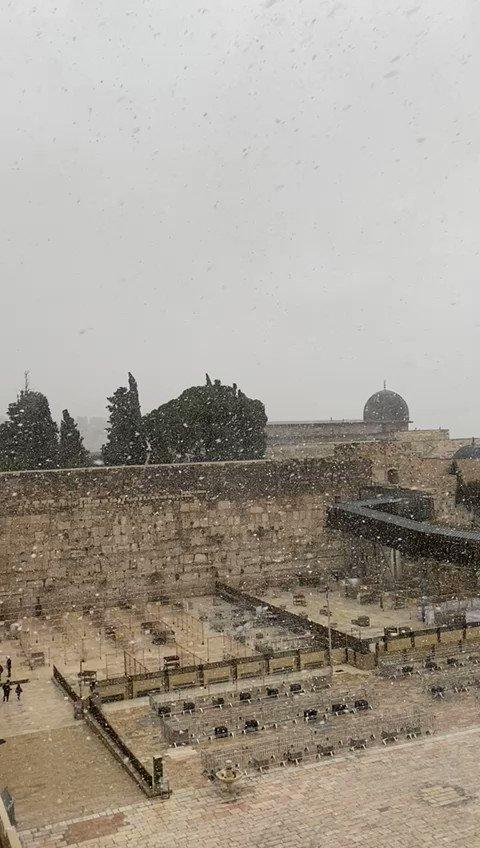 إسرائيل تغرد : بعد انتظارها طوال اليوم بدأت الثلوج تتساقط في اورشليم القدس.   …