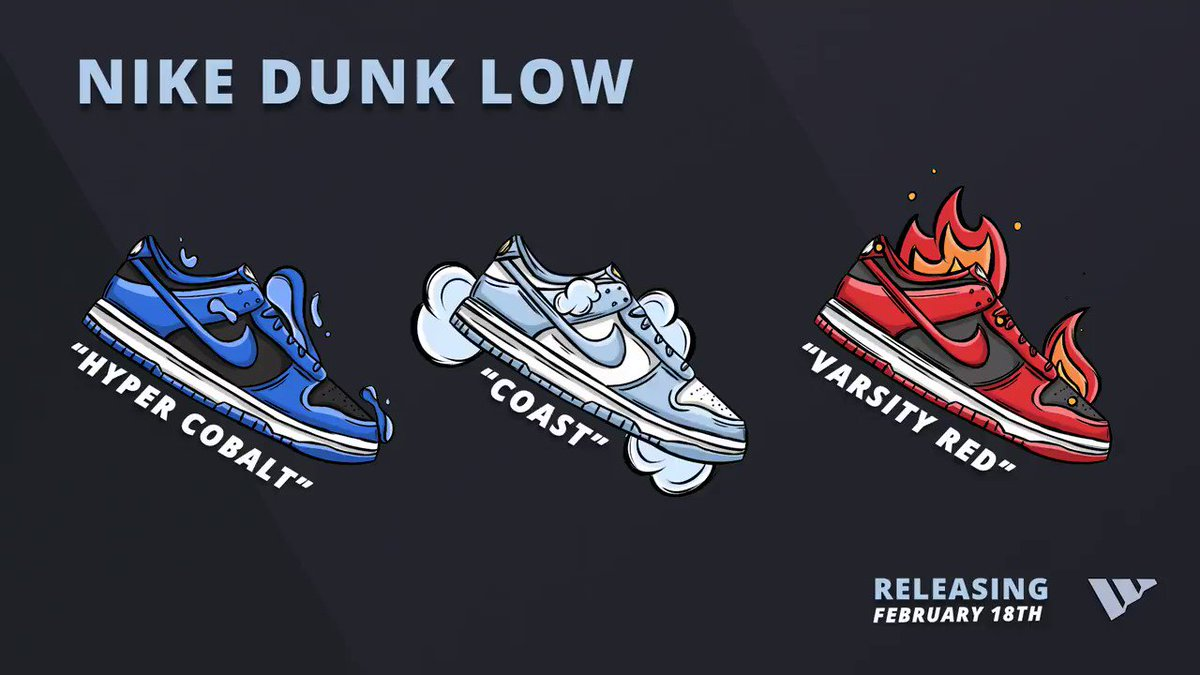 After countless delays, a few of the long-awaited Nike Dunk Lows release tomorrow! 🥳  With these releases occurring across Footsites, Shopify & FNL, Wrath users surely won't be missing out. 🥶🚀  RT & reply with your favorite colorway. A few of you may get an unexpected DM! 🎁👀