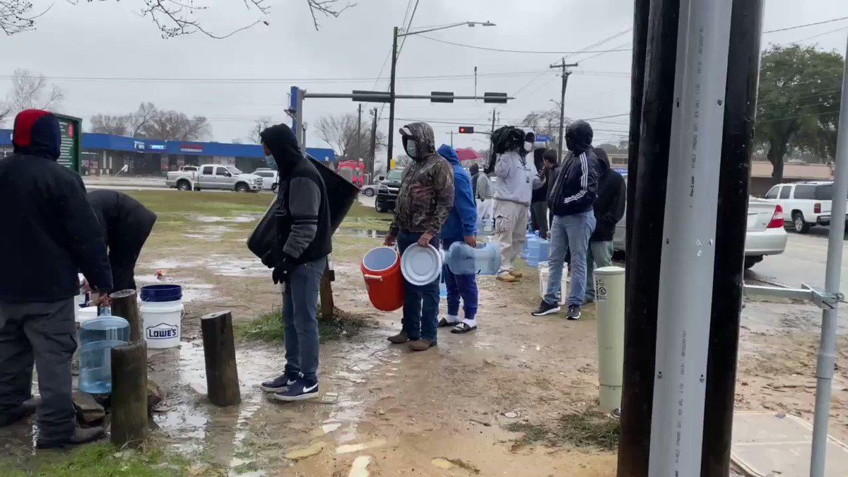 This is not a third world country. This is Houston, Texas. I spotted a line of people filing up buckets of water from a spicket at Haden Park. Why? Millions either have no water or are under a Boil Water Advisory.