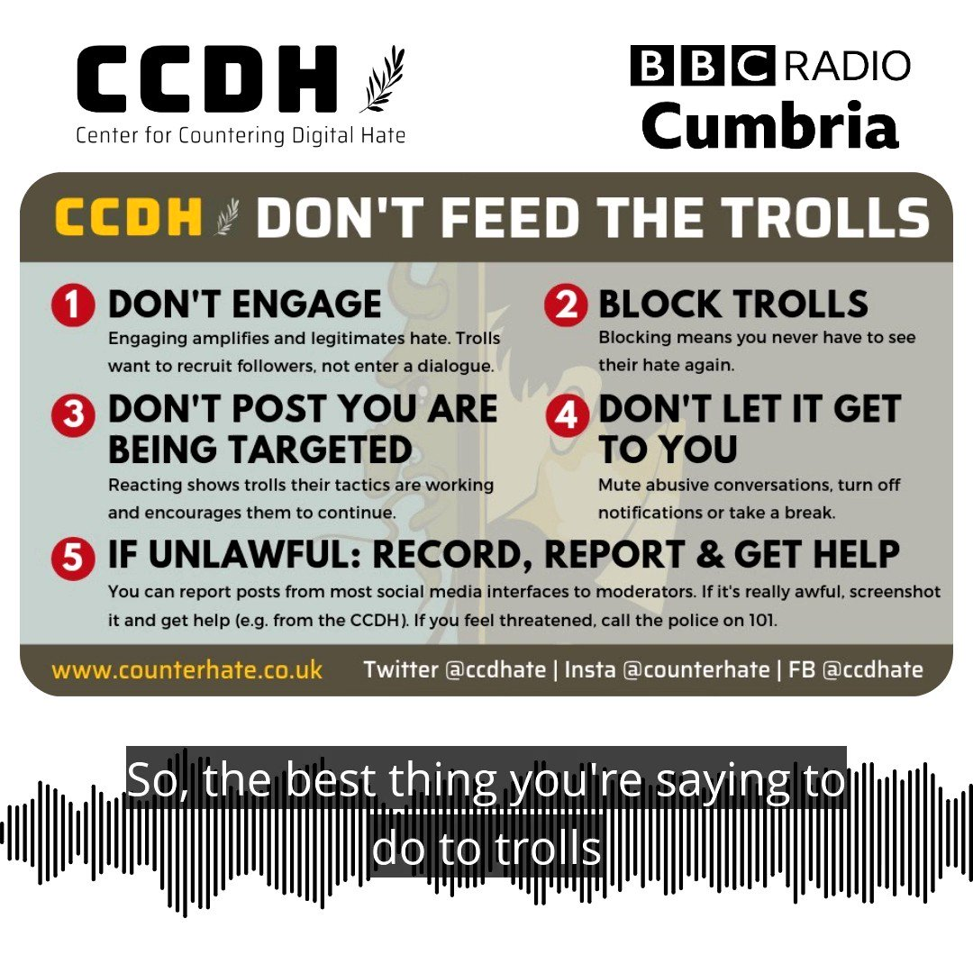 Following the saddening story that Captain Sir Tom Moore was the victim of online abuse prior to his death, @CallumHood spoke to @carolinerbrtsn about our #DontFeedTheTrolls guidance, on @BBC_Cumbria.