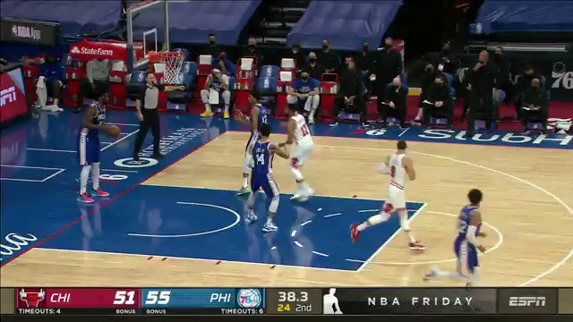 Joel Embiid is ridiculous. Euro-step and-1.
