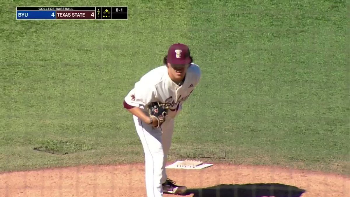 M7 | @supersmith015 needed just 2 pitches to get the final out of the frame. BYU - 4 #TXST - 4 #EatEmUp #ComebackStrong