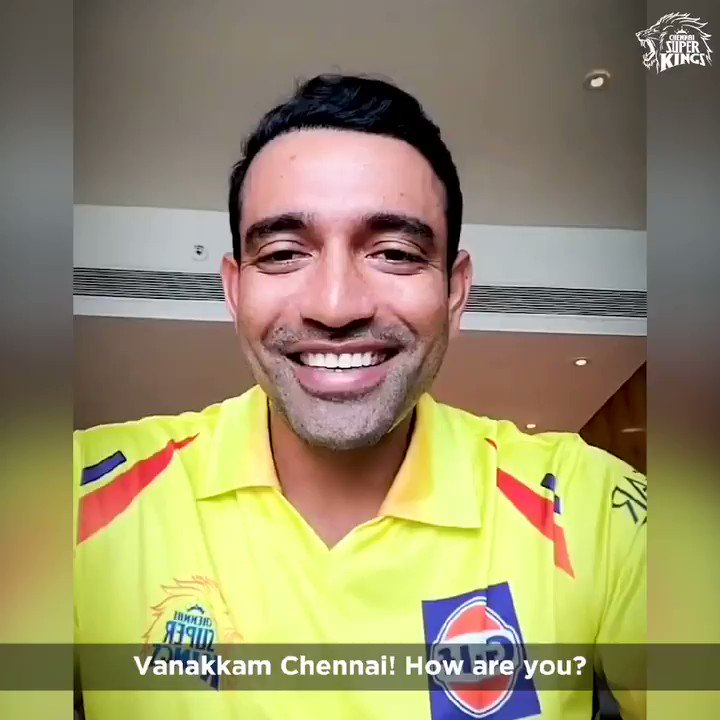 Robbie in #Yellove for the first time! Whistle Poda ready ah, all of you?! #WhistlePodu @robbieuthappa 💛🦁