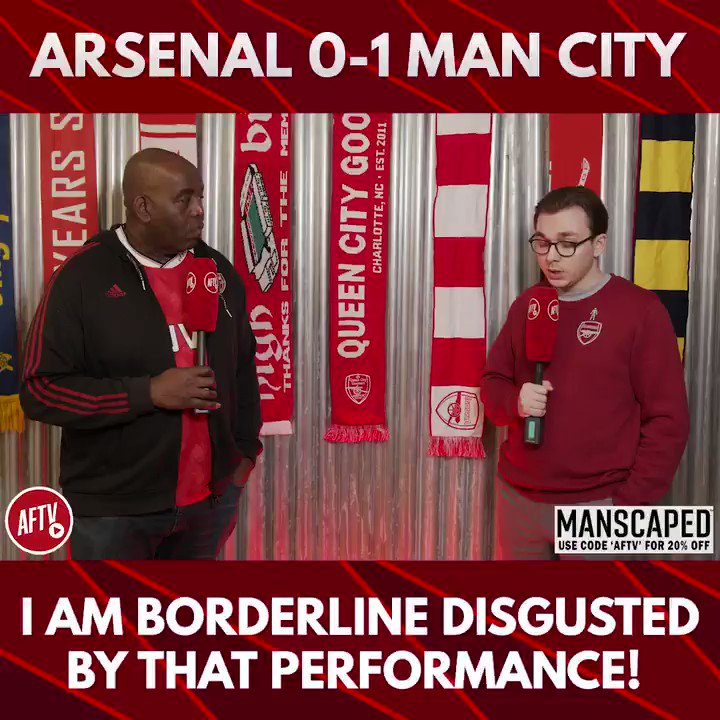🗣 I am borderline disgusted by that performance! (@JamesAFTV) 🔴 Arsenal 0-1 Man City 🔵 📺 youtu.be/1qSYQkoYKj0 ➡️  AFTV Fancams are brought to you by @manscaped - Use the code 'AFTV' for 20% off your order and free shipping at manscaped.com! #ad