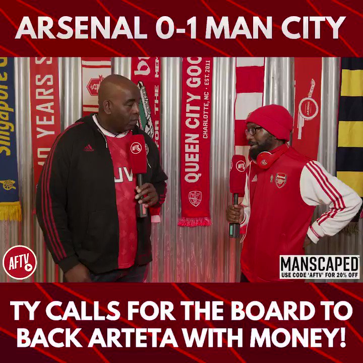 🗣 Ty calls for the board to back Arteta with money! 🔴 Arsenal 0-1 Man City 🔵 📺 youtu.be/3cA94AW-5jM ➡️  AFTV Fancams are brought to you by @manscaped - Use the code 'AFTV' for 20% off your order and free shipping at manscaped.com! #ad
