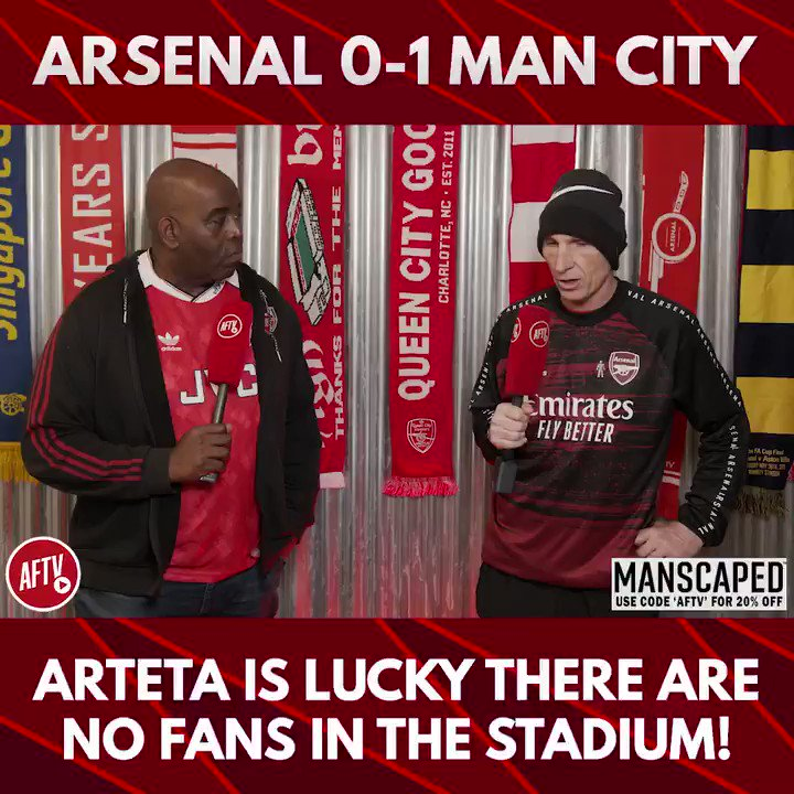 🗣 Arteta is lucky there are no fans in the stadium! (@leemarkjudges) 🔴 Arsenal 0-1 Man City 🔵 📺 youtu.be/-bdYTiv4eyE ➡️  AFTV Fancams are brought to you by @manscaped - Use the code 'AFTV' for 20% off your order and free shipping at manscaped.com! #ad