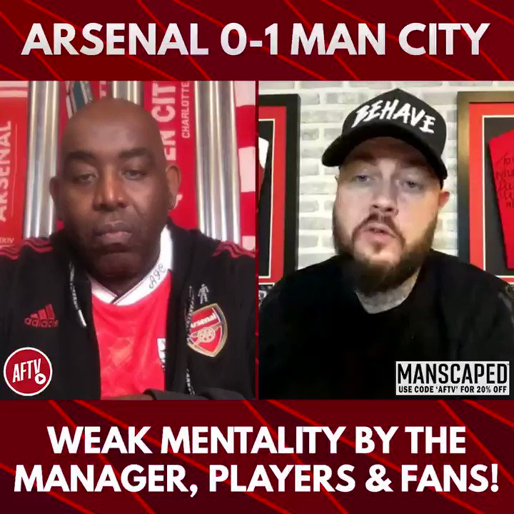 🗣 Weak mentality by the manager, players & fans! (@MrDtAFC) 🔴 Arsenal 0-1 Man City 🔵 📺 youtu.be/CjqsUA1POuE ➡️  AFTV Fancams are brought to you by @manscaped - Use the code 'AFTV' for 20% off your order and free shipping at manscaped.com! #ad