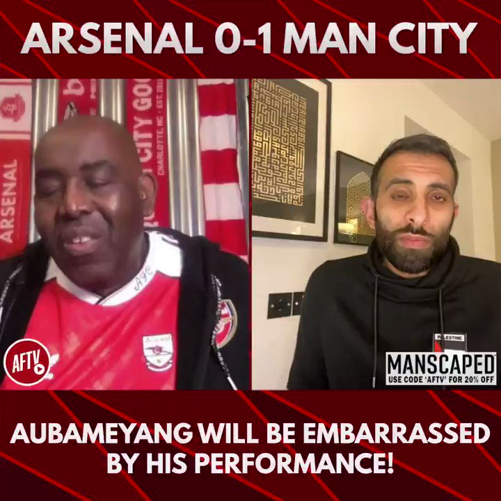 🗣 Aubameyang will be embarrassed by his performance! (@ArsenalMoh8) 🔴 Arsenal 0-1 Man City 🔵 📺 youtu.be/VfktFYazGJ0 ➡️  AFTV Fancams are brought to you by @manscaped - Use the code 'AFTV' for 20% off your order and free shipping at manscaped.com! #ad