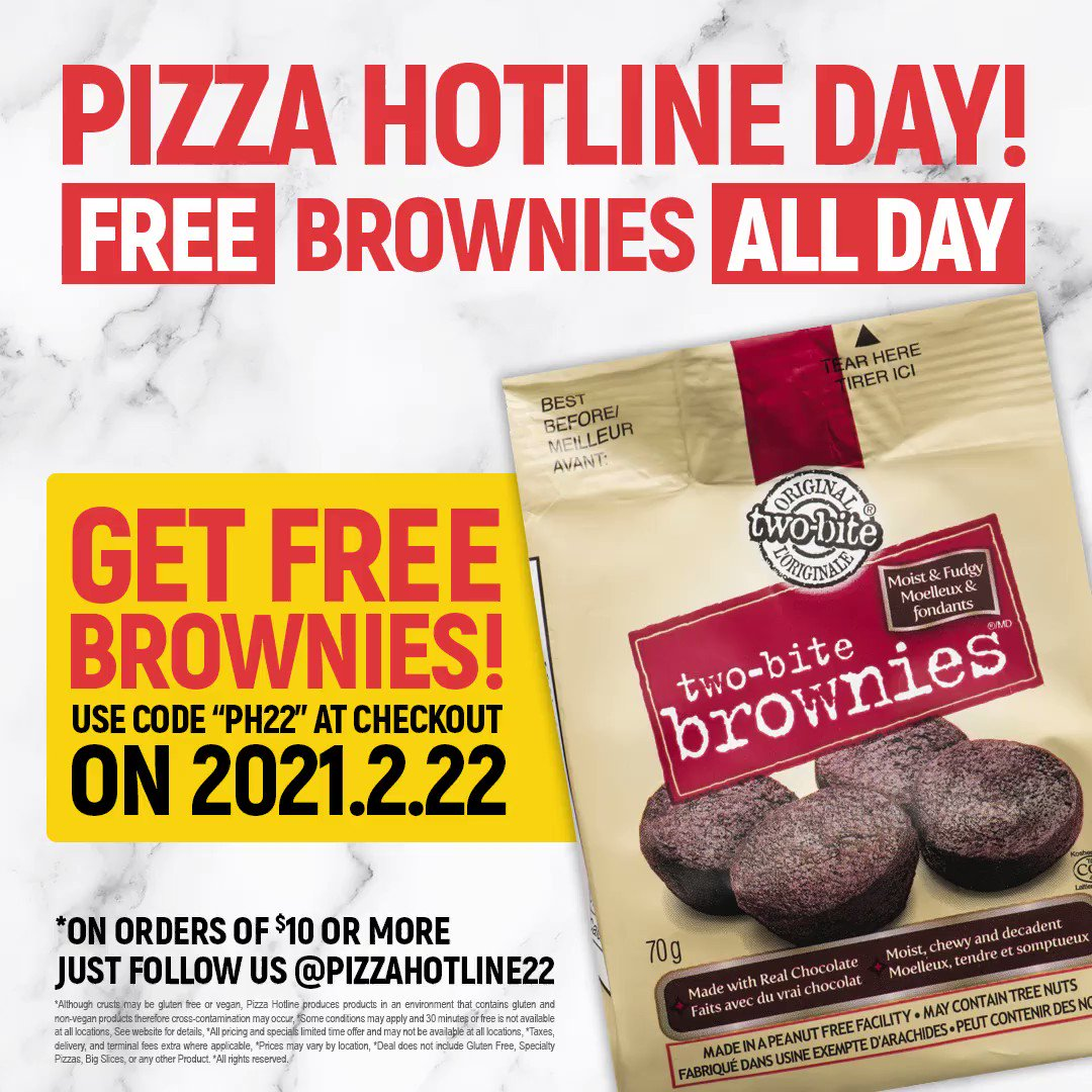 Today is International Pizza Hotline Day! Get a free bag of brownies with every order of $10 or more! use code PH22 at checkout and add your free bag of brownies to your basket! #PizzaHotline #SaucyLittleNumber #2222222 #PizzaHotlineDay #Feb22