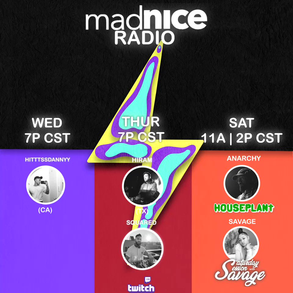 Happy Monday!! And here is your line up for this week's edition of Mad Nice Radio ⚡️📻⚡️. Starting Wednesday we're locked in with an amazing line up. We have HitttssDannyy @bericbaballa @yunghiram @DjAnArchy and @DJSAVAGE901 on deck! 🔥 #twitch #MadNice #MadNiceRadio