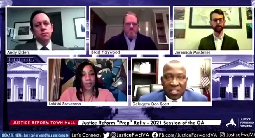 """BREAKING: Probation Reform has PASSED a final @VASenate vote and is on to @GovernorVA's desk! Chief Patron Del @DonScott757, """"Probation is a pipeline to make sure this mass incarceration system always has Black bodies."""" Thank you Delegate for serving justice to a broken system!"""