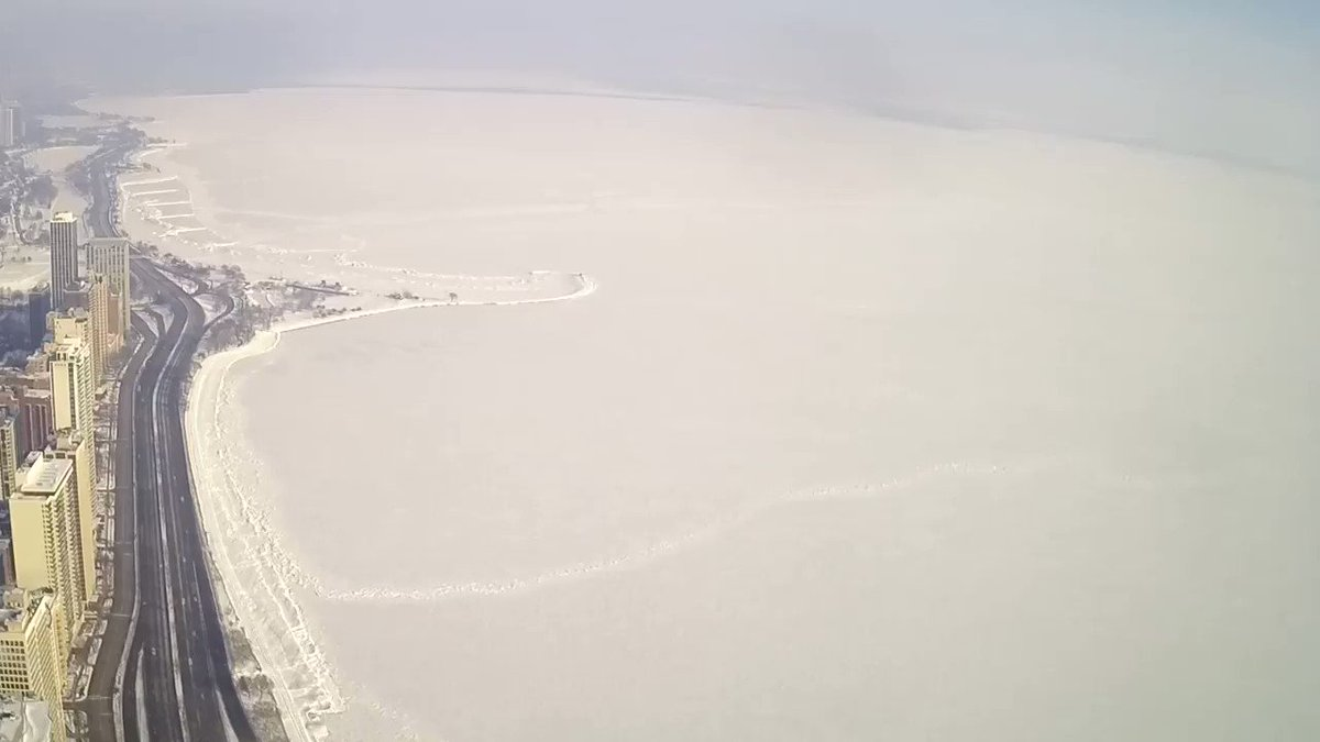Incredible timelapse of a giant section of ice covering Lake Michigan around the Chicago shoreline breaking off and drifting away. This video timelapse was captured by the WGN Hancock camera. H/T Tom @Skilling