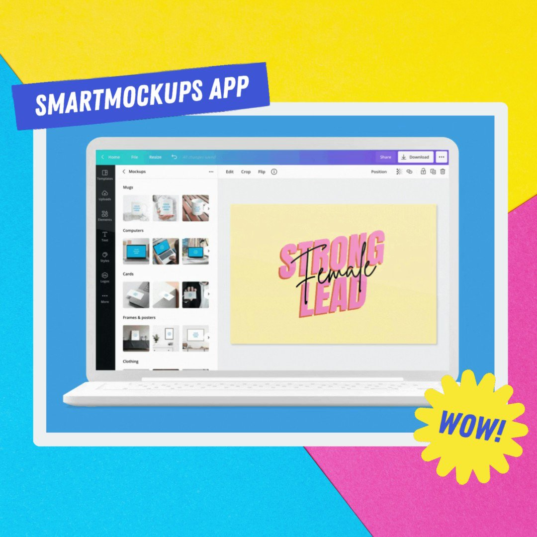 Ever wondered what your design might look like on a mug or poster?  Well not anymore, because the Smartmockups app is here! Now you can visualize your designs on a variety of product mockups.😉
