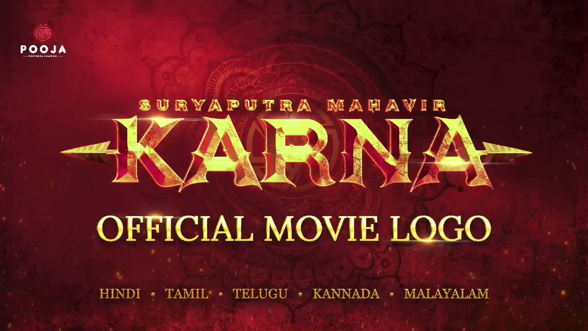 BIGGG ANNOUNCEMENT... Producers Vashu Bhagnani, Deepshikha Deshmukh and Jackky Bhagnani unveil the title logo of their magnum opus #SuryaputraMahavirKarna... Story of #Karna from #Mahabharata... Directed by RS Vimal... Dialogues, lyrics, additional screenplay by Dr Kumar Vishwas.