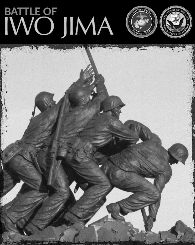 After four days of intense fighting on Iwo Jima, Marines raised a flag on the top of Mount Suribachi Feb. 23, 1945. The famous Joe Rosenthal photo is immortalized by the @USMC War Memorial in Arlington, Virginia. We honor those brave Marines and their service.