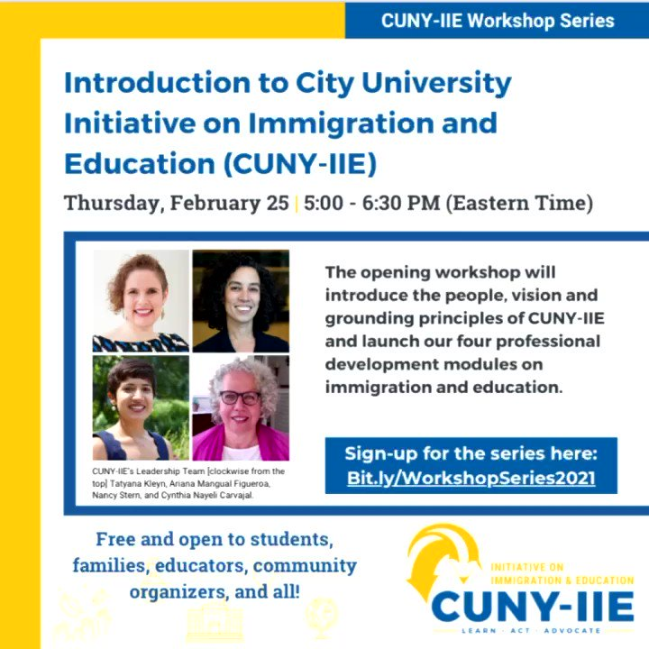 Don't forget to checkout out our first virtual workshop of the CUNY-IE intro series! If you can't join us on zoom this time, we'll be on FB Live for the first hour & live tweeting the workshop throughout  #CUNYIIE #CUNY #UndocuEDU #CTLE #immigration #education #immigrants