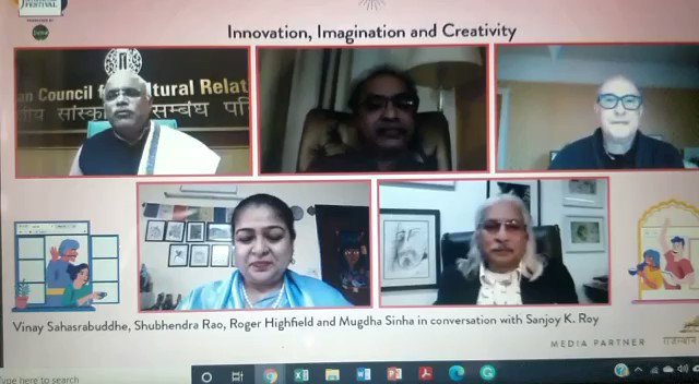 LIVE NOW! In a pandemic ridden, constantly transforming world, how does innovation and creativity manifest in society, and how can they be promoted despite the difficulties of our times? @RogerHighfield @SanjoyRoyTWA @ShubhendraRao @rpbreakingnews @vinay1011 @ICCR_Delhi