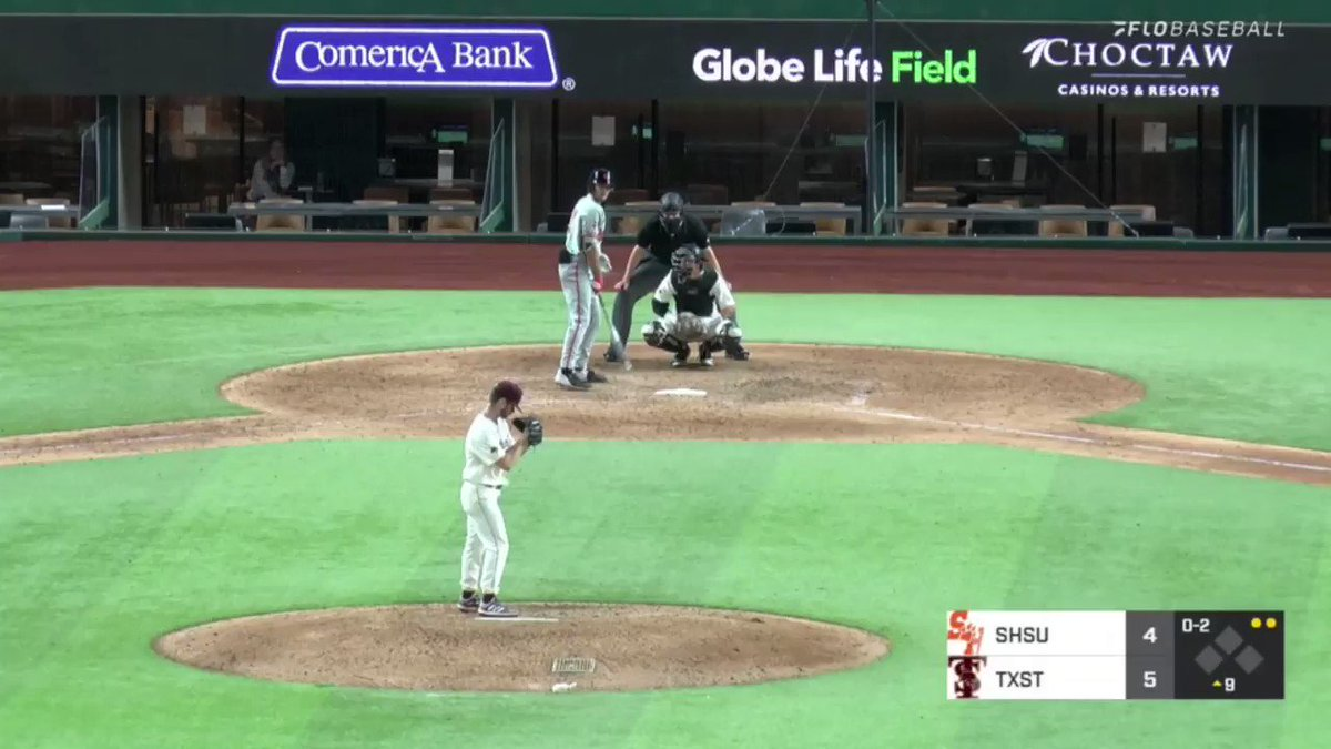 LIGHT THE VICTORY STAR!!! Bobcats come back to defeat the Bearkats 5-4 at @GlobeLifeField! 🎥@FloBaseball Your live link is here: flosports.link/2OWnIAi #EatEmUp #ComebackStrong #SunBeltBSB