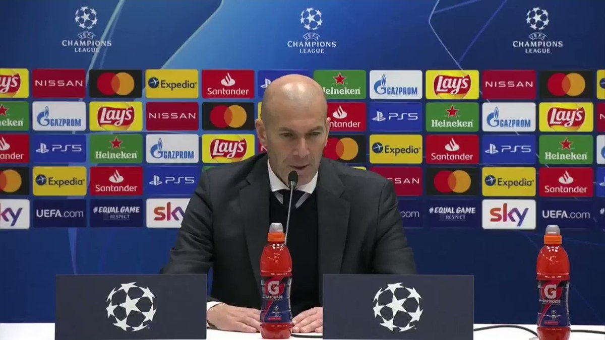 """Bad performance, good result"".  @realmadrid coach Zinedine Zidane has admitted his side played poorly against @Atalanta_BC but is happy to get a vital away goal and a clean sheet.   #UCL"