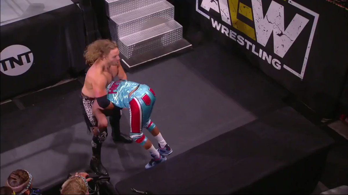 .@MATTHARDYBRAND gets ejected from ringside by @RefAubrey with the assist by @SilverNumber1 & @YTAlexReynolds. WATCH #AEWDynamite NOW on @TNTDrama