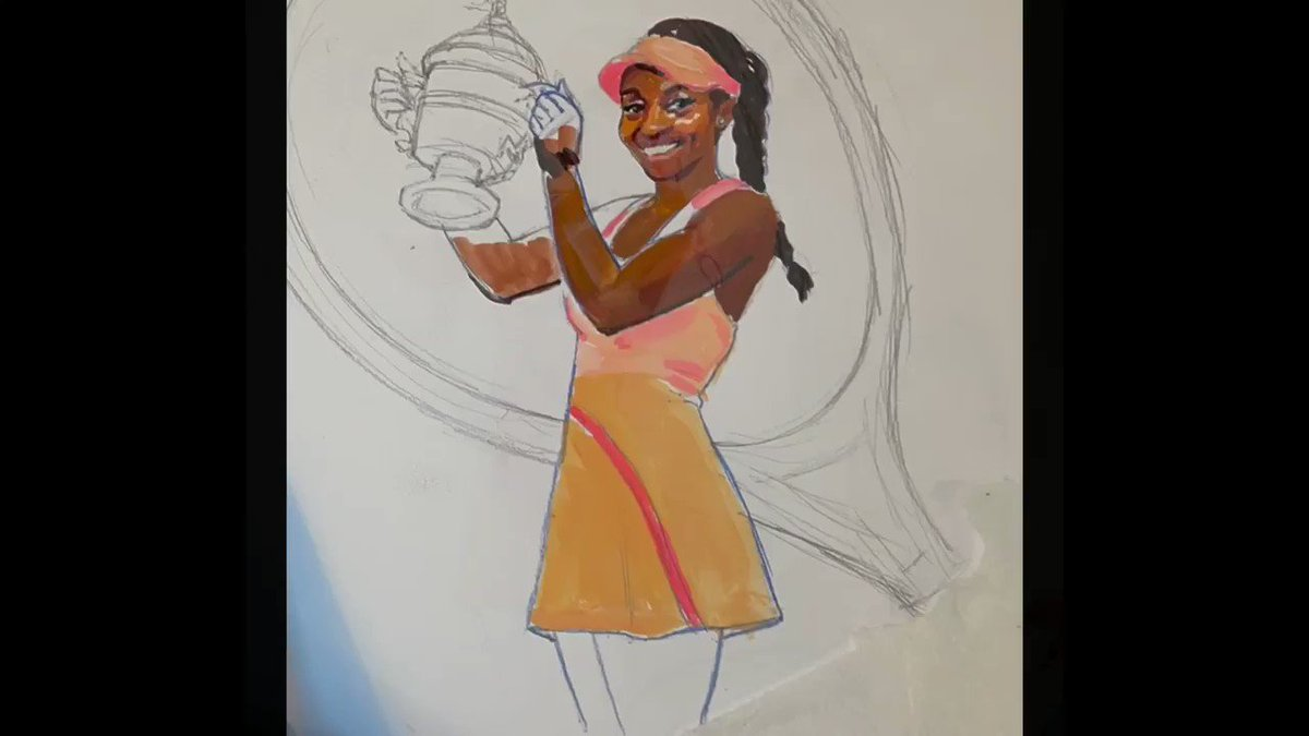 For #BlackHistoryMonth I created this portrait of one my favorite athletes, US Open Tennis Champion, Sloane Stephens. She's an amazing athlete, wonderful role model for girls, and all around beautiful person. #TennisFans #portraits