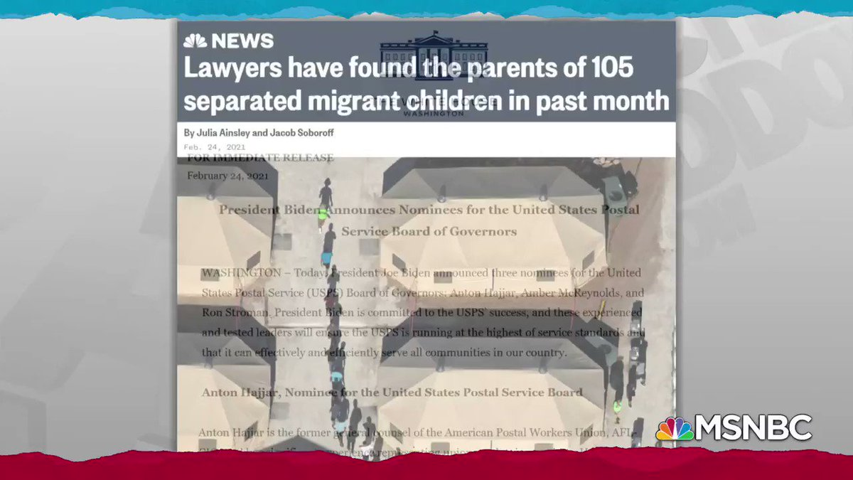 Tonight's news, as shared by @maddow: during first month of Biden admin, lawyers looking to contact parents of 611 kids separated by Trump found 105.  That leaves parents of 506 who still haven't been reached just, as admin's reunification task force beings its work in earnest.