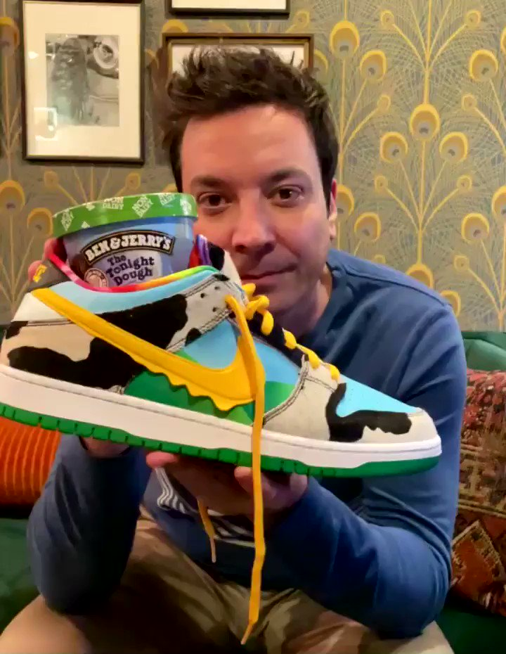 We are releasing 2 (!) new things with @benandjerrys tonight!🍦🍨🍪   1) A non-dairy Tonight Dough for my vegan friends.  2) Tonight Dough Chunks (as seen in my @Nike Dunks) - if you wanna go straight for the good stuff.  I love you Ben, I love you Jerry 💚💙💛 @FallonTonight