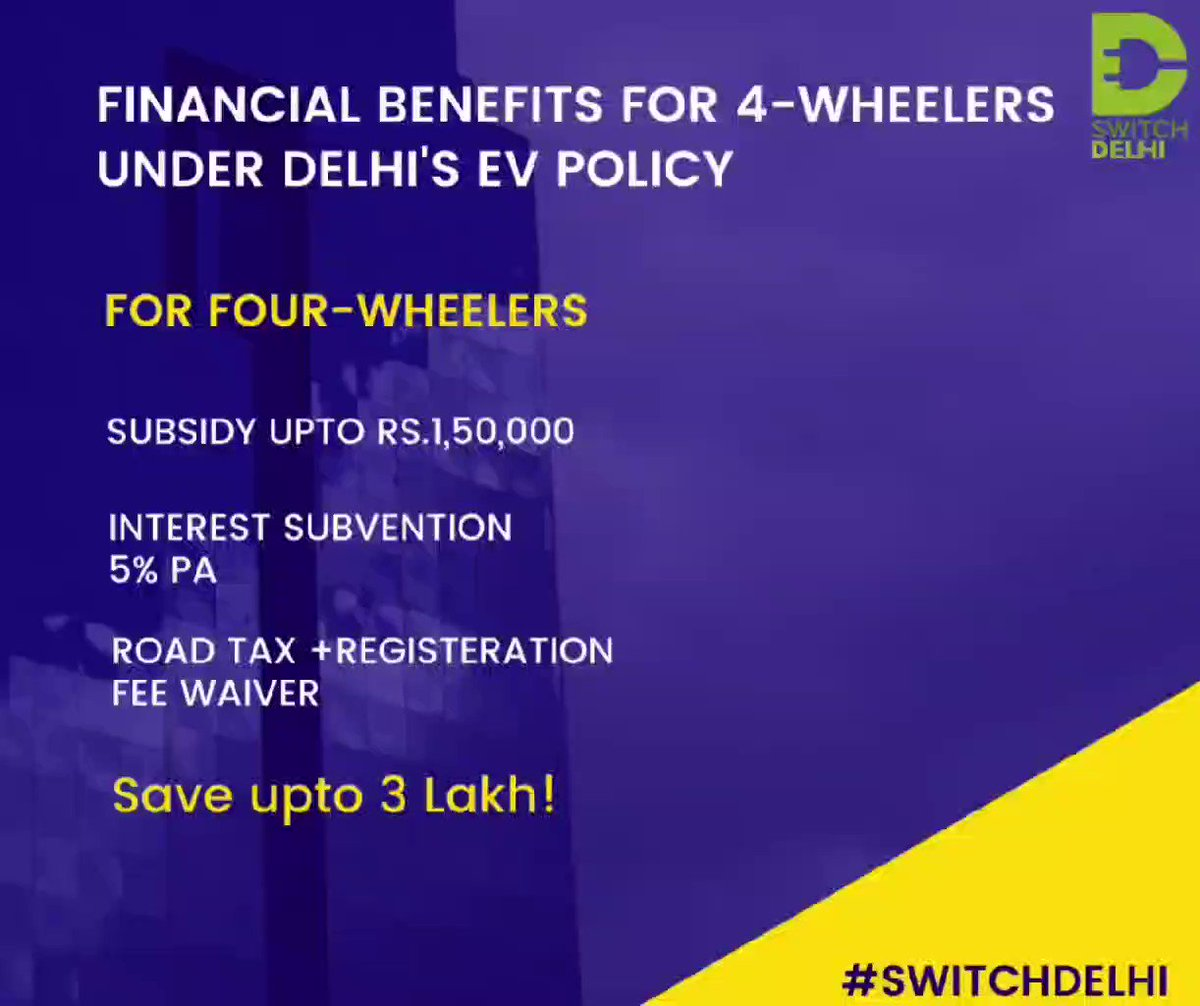 Check out all the financial incentives Delhiites can avail under Delhi Govt's EV policy on the purchase of electric 4-wheeler. Avail financial benefits upto Rs.3 lakh under Delhi Govt's. EV policy and switch towards an eco-friendly future.  #SwitchDelhi