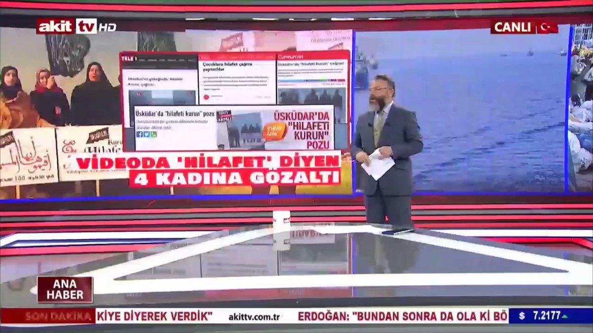 """Akit TV, Hilâfet videosu çektikleri için gözaltına alınan kadınlara yapılan hukuksuzluğu """"skandal"""" olarak niteledi.  #HilafetİstemekSucDeğildir  #MüslümanBacılarGözaltında  #YenidenHilafet"""