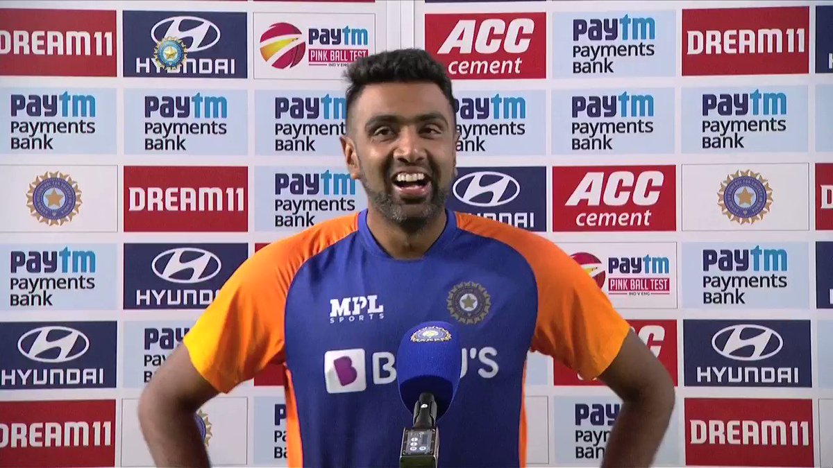 💬 This body is ageing, but I won't be surprised if I surpass myself in the future: @ashwinravi99  👌🏻  Confidence 💯 percent from the champion spinner 🔝  #TeamIndia #INDvENG #PinkBallTest @Paytm