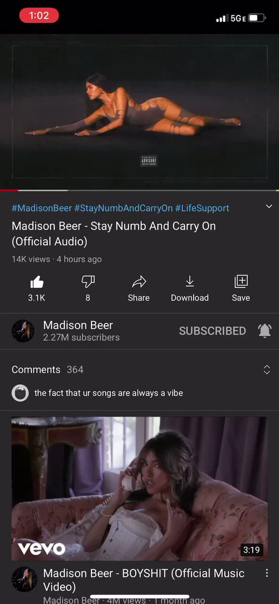Fun fact if you reverse the beginning of stay numb and carry on Madison is saying I've become emotionless #LifeSupport @madisonbeer