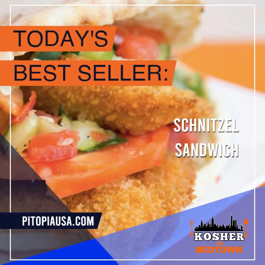 HIGHLIGHTING THIS WEEK'S BEST SELLER: THE SCHNITZEL SANDWICH!  ORDER FROM .  #kosher #koshernyc #kosherrestaurants #nyc #contactfreedelivery #healthy #tasty #foodie #restaurants #midtown #manhattan #pitopia #schnitzel #chicken #sandwich #schnitzelsandwich