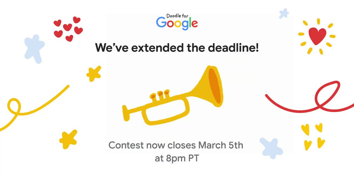 Strength is key in times of uncertainty. To consider those who may be doodling outside of their classrooms or experiencing weather-related challenges, @GoogleDoodles has extended the #DoodleforGoogle contest deadline to 8:00pm PT on March 5th! ➡️
