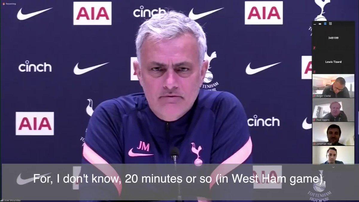 😳 #Mourinho on when Gareth Bale, Dele Alli, Harry Kane & Son Heung-min start a match......⬇️  #손흥민 @hmson7_fcthai @kgustafson #THFC #COYS  @_THFC_ @TheSpursExpress #PremierLeague