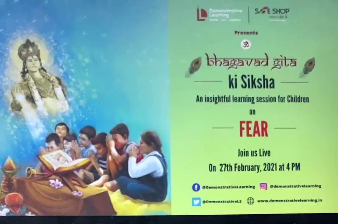 """From weekly book reading sessions to now a fortnightly #BhagavadGita ki Shiksha for Children, focusing on One Human Emotion per session. Listen in with me on """"Fear"""" at 4 PM today.   Join the LIVE.    A brain child of @DemonstrativeLE  & @safeshop_india_"""