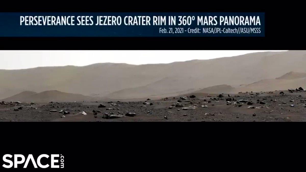NASAの火星ローバー「パーサヴィアランス」が撮影したパノラマ写真で、クレーターの縁まで寄った映像。開いた口が塞がらない…。  ぜひ最後まで見てほしい。こんなに細部まで捉えられるとは…。このローバーの目は完全に未来のそれだ。