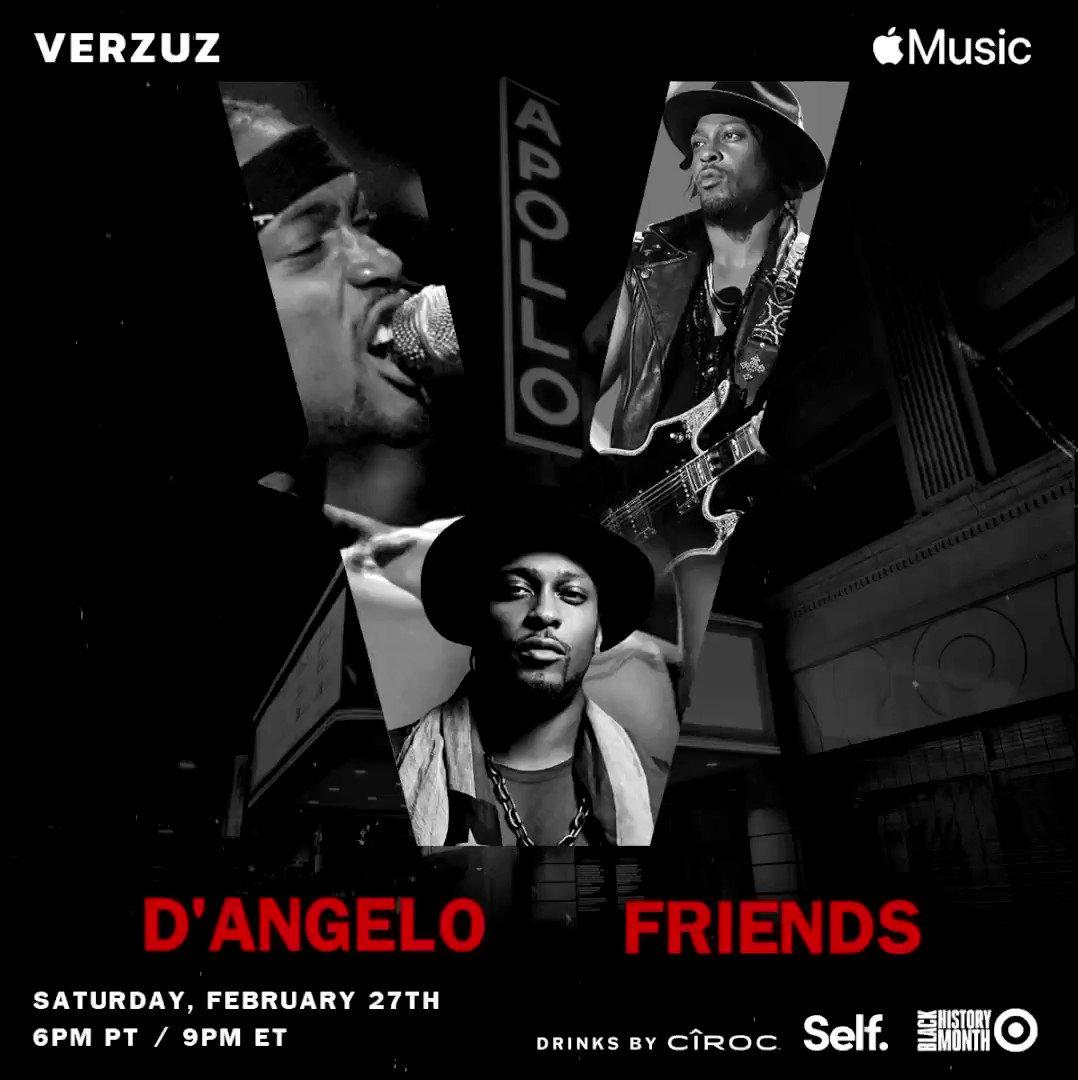 @thedangelo #verzuz Friends Live at the World Famous @apollotheater Tonight 6pm PT / 9pm ET on @applemusic Music x @verzuztv Instagram   #dangelo #verzuz #apollotheater