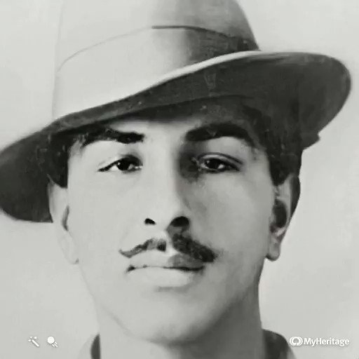 Kind of surreal to take a photo of the singularly inspiring Bhagat Singh -- a revolutionary voice in 1920s India, who was hung by the British in 1931, at the age of 24 -- run it through the Heritage AI algorithm, and see him reanimated.