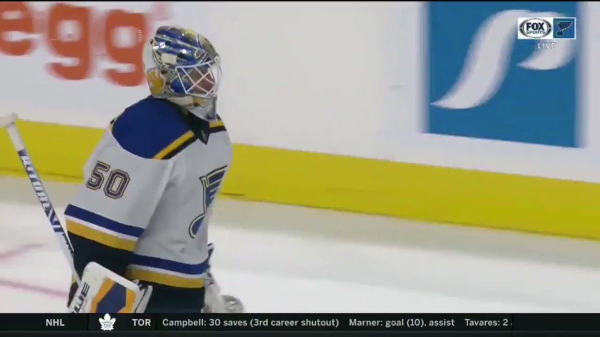 Full sequence here. Binnington went after 3 guys. Received an unsportsmanlike conduct penalty