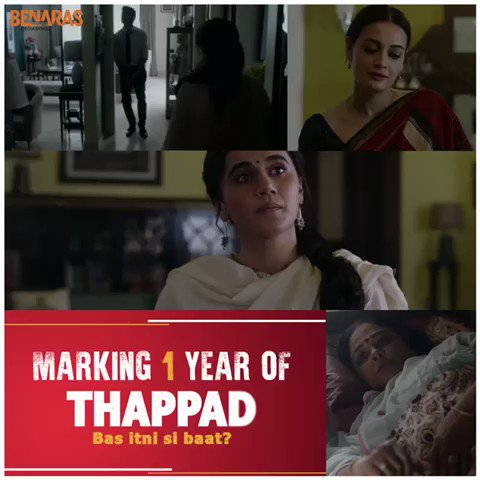 #1YearOfThappad and this movie continues to touch every soul & mind with its incredible message. Big hug to the entire team for the beautiful journey that it was ❤️🤗  @taapsee  @pavailkgulati @tanviazmi #ratnapathakshah #kumudmishra @GeetikaVidya @anubhavsinha @mrunmayeelagoo