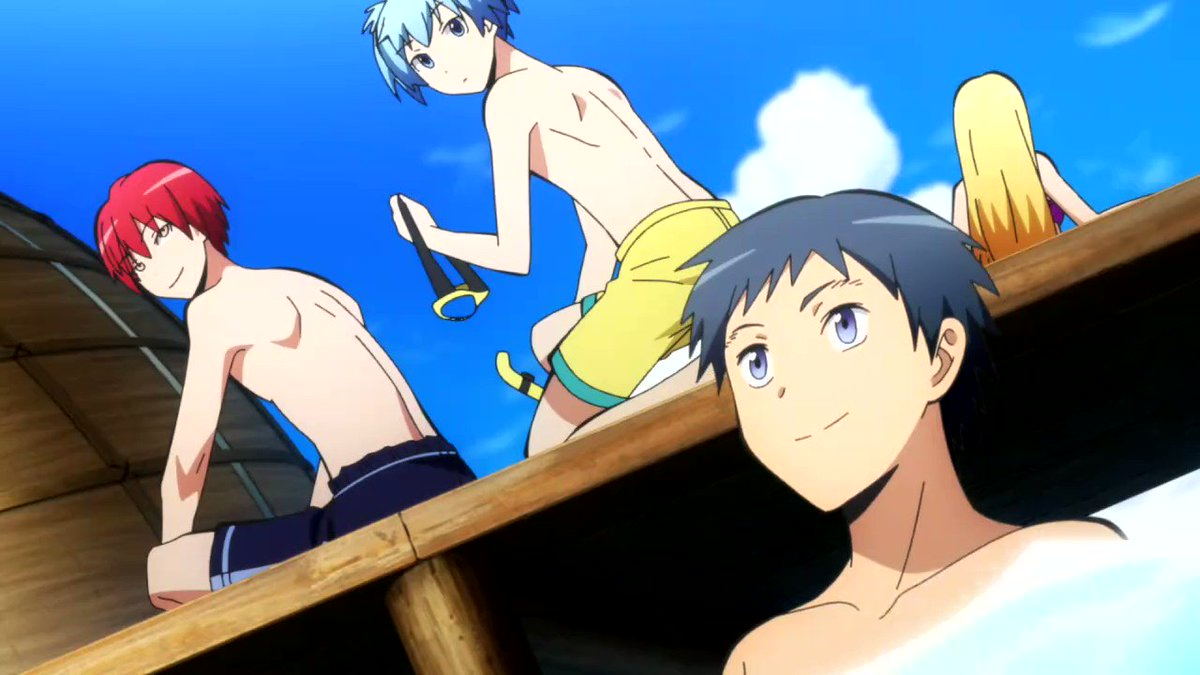 So nobody talking about how Nagisa prepped his husband's swimming equipment, nor how Karma always let's Nagisa get super close and if you look close enough nobody gets close or behind Karma except Nagisa 😭🥶🥵 #AssassinationClassroom #Toonami