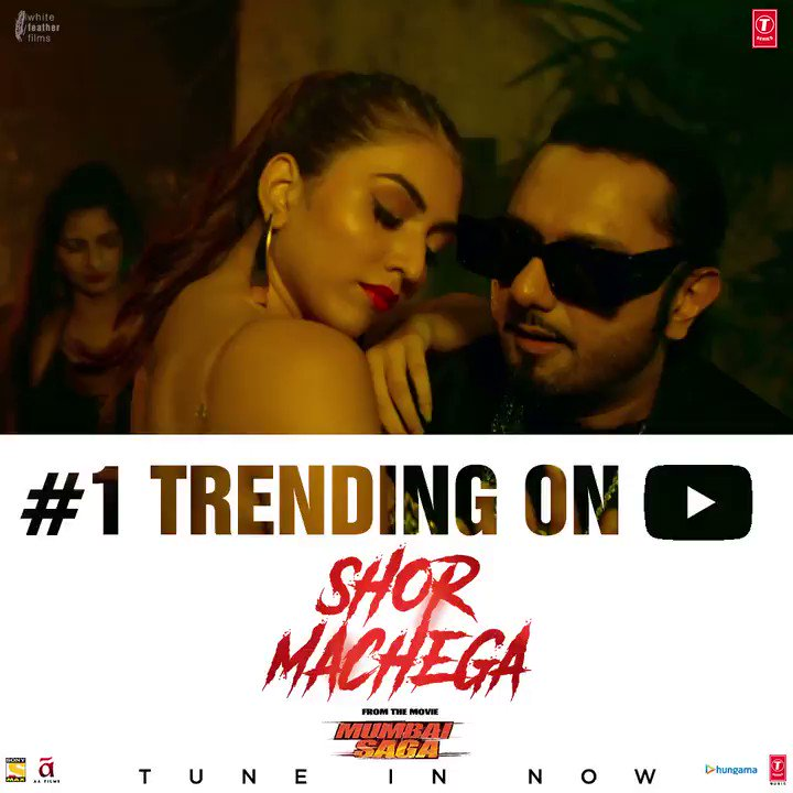 #ShorMachega from #MumbaiSaga  becomes the #1 Trending video on YouTube within hours of release 🔥🔥  Make some noise and join the party!! Watch now on   In cinemas on 19th March.   @TheJohnAbraham @emraanhashmi @_SanjayGupta #BhushanKumar @Tseries